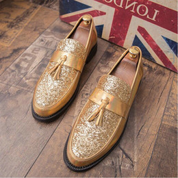 formal driving shoes 2019 - New Hot Sale Men Dress Loafer Driving Lazy Shoes Men Flat Black Golden Formal Shoe Patent Leather Casual Shoes A51-68 ch