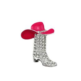 Custom Wedding Hats Australia - 20pcs lot Mixed Pink Green Enamel Western Cowboy Hat Rhinestone Boot Custom Shoe Brooch Pin