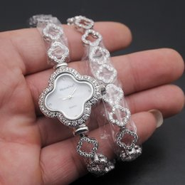 $enCountryForm.capitalKeyWord Australia - Quartz Watch For Women White Crystal Cubic Zirconia 925 Sterling Silver Charm Double Links Bracelet Wristwatch Ladies Hot Prom Gifts 38cm