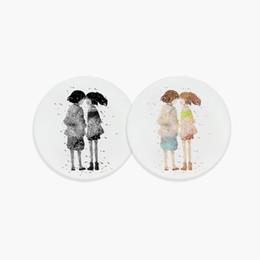 Round Kitchen Sets UK - Watercolor Lovers Sakura Japanese Anime Miyazaki Ceramic Bar Coasters Creative Love Girls Gifts Kitchen Accessories Pad Mats Set