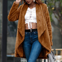 ladies cashmere jackets Australia - 2019 Winter Women Cotton Cashmere Wool Blend Fluffy Long Sleeve Jacket Ladies Warm Outerwear Cardigan Long Coat Trench j30