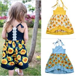 Kids beach flower girl dresses online shopping - Girl Sunflower Sling Dresses Flower Printed Suspender Ruffle Backless A Line Beach Dress Kids Designer Clothes Girls Kids Dresses