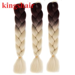 "pink kanekalon braiding hair Australia - 24"" 100g pack Ombre Brown Pink Purple Blonde Kanekalon Jumbo Braids Hair Extensions Synthetic Crochet Braiding Box Braids Hair"