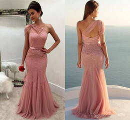 $enCountryForm.capitalKeyWord Canada - 2019 New Design Dusty Rose Formal Dresses Evening Wear One Shoulder Beaded Mermaid Long Arabic Prom Party Special Occasion Gowns Cheap