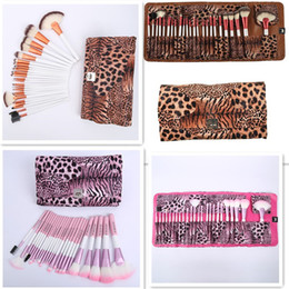 leopard makeup kit NZ - 24Pcs Brand Makeup Brushes Set High Quality Pro Blush Foundation Powder Brush Kit Cosmetic Beauty Tools With Leopard PU Leather Bag Case DHl