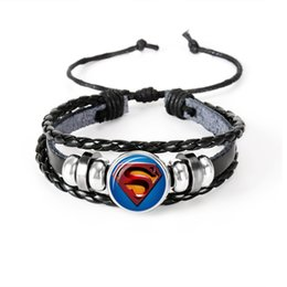 Chinese  Marvel Avengers Superheroes Series Glass Cabochon Leather Bracelets Multi Layers Weave Handmade Punk Black Men Bracelets manufacturers