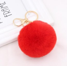 Artificial Chains Wholesalers Australia - 2018 simple key chain Fur ball Pompon Keychain Pompom Artificial Rabbit Fur Animal Keychains For Woman Car Bag KeyRing 18 colors