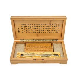 Luxury Pen Cases Australia - Luxury Chinese Traditional Dragon Clip Fountain Pen Exquisite F Nib Iridium Point 0.5mm Gift Pens with Bamboo Slip and Case
