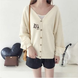 Cat Cardigan woman online shopping - ready in stock leisure style Cardigan women with long sleeve knitted solid color and Embroidered cat pattern and