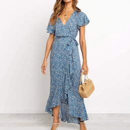 $enCountryForm.capitalKeyWord Australia - 2019 Fashion Long Maxi Dress Women Summer Bohemian Chiffon Floral Print Beach Dress Sexy V Neck Split Short Sleeve Ruffles Sundress Vestidos