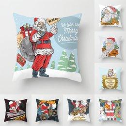 Santa Claus Prints Australia - 8 TYPE Santa ClausPattern Bed Cushion Cover SingleDouble SidePrinting Car Pillowcase Peach Skin Sofa Hold Pillow Case Covers45*45cm