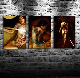 Nude Girl Oil Painting Arts Australia - Tattoo Girl,3 Pieces Canvas Prints Wall Art Oil Painting Home Decor (Unframed Framed) 16x24x3.
