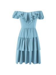 46c016d2178 2019 Spring and summer amazon eBay hot style one-word shoulder flounce  skirt and strapless dress street style