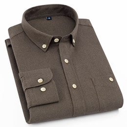 Plain Collar Shirts Australia - 2019 New Soft Brushed Fabric Button Collar Long Sleeved Comfortable Plain Solid Smart Casual Shirts For Mens No Fade No Shrink