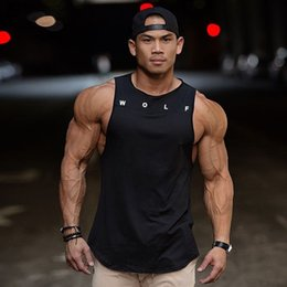 Mens sliM workout shorts online shopping - 2019 Fitness Vest Men s Sleeveless Sports Tank Top Muscle Gym Wolf Mens Stringer Workout Strong Tanks Clothing Color Y19071701