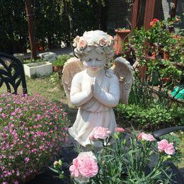 $enCountryForm.capitalKeyWord Australia - Retro Courtyard Outdoor Rose Garland Lips Angel Garden Park White Figurines Decoration Ornament Sculpture Home Resin Boy Craft
