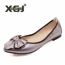 266f7d216e82 2019 Pointed Toe Ballet Flats Soft Foldable Ballerina Shoes For Girls Large  Size 40 41 Shoes Woman PU Leather Summer Flats