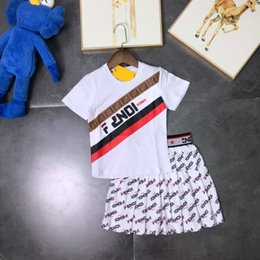 Young Girl Shirts Australia - Children's wear girl baby T-shirt Young child Summer dress 2019 new products Wholesale prices Pleated skirt All over the alphabet