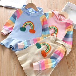 Wholesale colorful straight dresses for sale – plus size Kids Girl Long Sleeve Sweater Dress Rainbow Colorful Hooded Sweater Skirt Pink Blue Apricot Color Costume