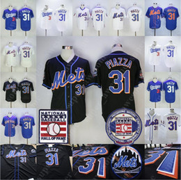 $enCountryForm.capitalKeyWord Australia - Mike Piazza Jersey With Hall of Fame Patch New York 31 Mets Los Angeles Baseball Jersey Black Blue White Pullover All Stitched