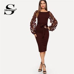 38f3e8de6 Vestido de sheinside online-Sheinside elegante bordado flor apliques de  malla de manga con forma