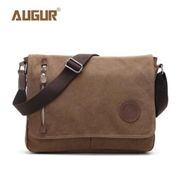 Vintage Military Leather Bags Australia - Augur Nice Canvas Leather Crossbody Bag Men Military Army Vintage Messenger Bags Shoulder Bag Casual Travel School Bags