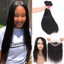 Discount curly hair frontal lace closure - 9A Indian Virgin Straight Curly Human Hair Weaves With 360 Full Lace Frontal Cheap Pre Plucked 360 Lace Frontal Closure
