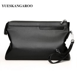 $enCountryForm.capitalKeyWord Australia - Yues Kangaroo Brand Leather Envelope Men Clutch Bag For Phone High Capacity Purse Male Clutch Wristbands Zipper Mens Long Wallet MX190720