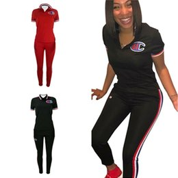 Polo Sportswear Australia - Champions Women Summer Tracksuit Ribbon Print V Neck Polo T shirt + Striped Pants 2 Piece Set Sportswear Outfit Sports Casual Suit New C3284