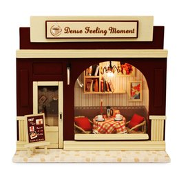 $enCountryForm.capitalKeyWord Australia - Wooden Coffee Shop DIY Kit Miniature Doll House With Dining Table LED Light For 8-12 Years Kids Christmas Gift Toys