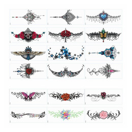 waist jewelry UK - Chest temporary flower tattoos Jewelry Body Tattoos Art Stickers for Women Chest Waist Lower Back Decorative Stickers Waterproof
