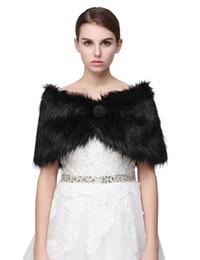 Bridal fur shrugs online shopping - New Black Pearl Bridal Wrap Shawl Coat Jackets Boleros Shrugs Regular Faux Fur Stole Capes For Wedding Party