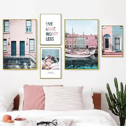 Discount canvas print venice - Venice Blue Sea Pink House Landscape Wall Art Canvas Painting Nordic Posters And Prints Wall Pictures For Living Room De