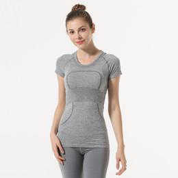 Lu-5 Yoga Top Yoga shirt à manches courtes Crop Top Women Sport Shirt Gym femmes Top couleurs T-shirt Gym Sports femme Mode pour Fitness en Solde