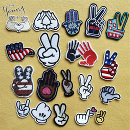 $enCountryForm.capitalKeyWord Australia - Hot sale Mixture Finger Parches Embroidered Iron On Patches For Clothing DIY Stripes Clothes Stickers Custom DIY Clothes Badges