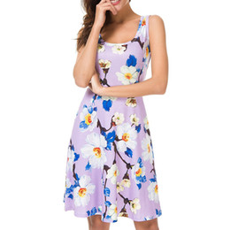 $enCountryForm.capitalKeyWord NZ - 2019 New Spring Fashion Sexy Women Sleeveless o-Neck Flower Print Evening Party Prom Swing Short Dress Ladies Dresses For Female