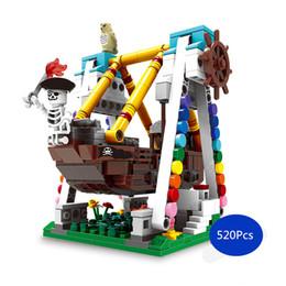 Pirate Block Set Australia - [TOP] 520Pcs set DIY Amusement park swing pirate ship Building blocks toy TOP assembles game toy child kids gift with legoed