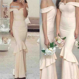 EvEning drEssEs for wEddings chEap online shopping - 2019 New Off Shoulder Cheap Mermaid Bridesmaid Dresses Simple Ruffles Wedding Guest Gowns for Evening Party Gowns