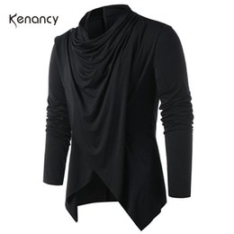 Wholesale wool shawl collar sweater resale online - Hemkis Fashion Men Asymmetrical Overlap Cardigan Casual Knitted Long Sleeve Sweaters Shawl Collar Open Front Tops Men S Sweaters T200102