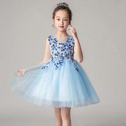$enCountryForm.capitalKeyWord NZ - 2019 New Elegant Pink Blue Tulle Flower Girl Dresses For Weddings Sleeveless Girls Party Ball Gown Appliques Lace First Communion Dresse