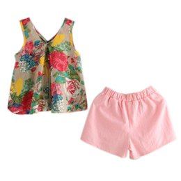 sleeveless suit for kids Australia - New Children's Girls Summer Floral Printed Sleeveless Baby Vest Tops +Shorts Sets For Girls Kids Clothes Outfit Suits