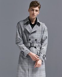 Wholesale 6xl trench coat men for sale - Group buy Mens Trench Long Plaid Windbreaker Mens Large Size Autumn Winter New Double Breasted Plaid Jacket Coat Long Coat Men Trench Coat Men S XL