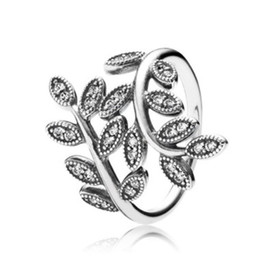Wholesale NEW Fashion CZ Diamond Sterling Silver Wedding Ring Set Original Box for Pandora Sparkling Leaves Ring Women Girls Gift Jewelry
