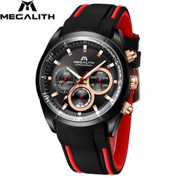 mens silicone sport watch Canada - MEGALITH Fashion& Mens Watches Top Brand Sports Waterproof Watches Male Quartz Watch Clocks Men Relogio Masculino