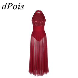 Wholesale dresses building resale online – DPOIS Women Adults Halter Neck Shiny Sequins Mesh Ballet Dance Lyrical Stage Performance Dance Wear with Built in Leotard Dress