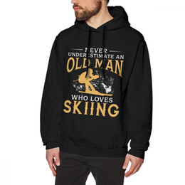 rock sweatshirts UK - Never Underestimate An Old Man Who Loves Skiing Hoodies Unisex Rock Roll sweatshirt Round Neck Plus Size