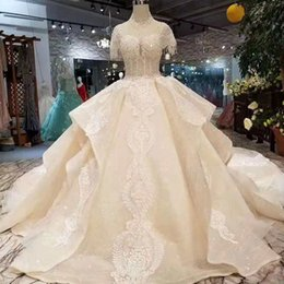 $enCountryForm.capitalKeyWord NZ - Luxurious Court Vintage Ball Gown Wedding Dresses Beading Beads Embroidery Sequins High Neck Tiered Bridal Dresses Gowns