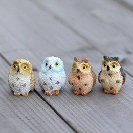 Simpatici Gufi Animali Figurine Resina Miniature Figurina Artigianale Bonsai Vasi Casa Fata Giardino Ornamento Decorazione Terrario Decor