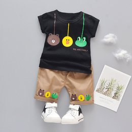 shit cartoon NZ - Baby Boys Girls Cartoon Clothes Outfit Suit Cute Children Summer Cotton 1 2 3 Years Kids Boys Clothes Sets T-shit+Shorts