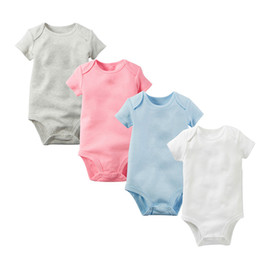 Wholesale jumpsuit a romper resale online – Baby Rompers Big Baby Jumpsuits Cotton Class A Solid Colors Short Sleeves Triangle Romper baby Onesie M